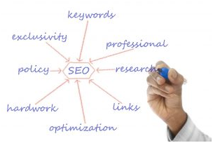 A person outlining different aspects of SEO
