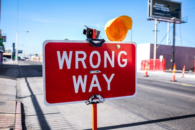 road sign for wrong way