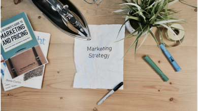 Paper that says marketing strategy on a table